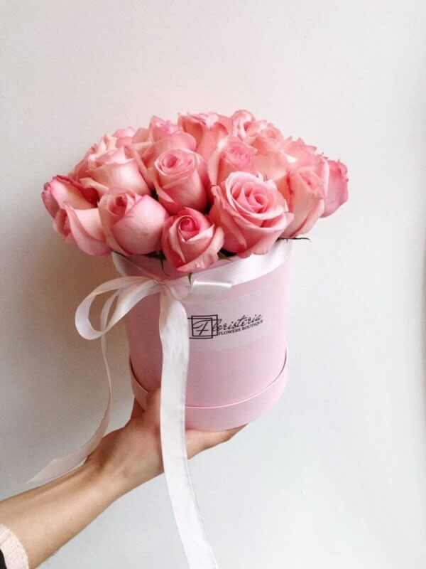 Różowy box z 25 róż