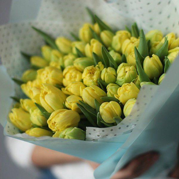 Bukiet z  żółtych tulipanów