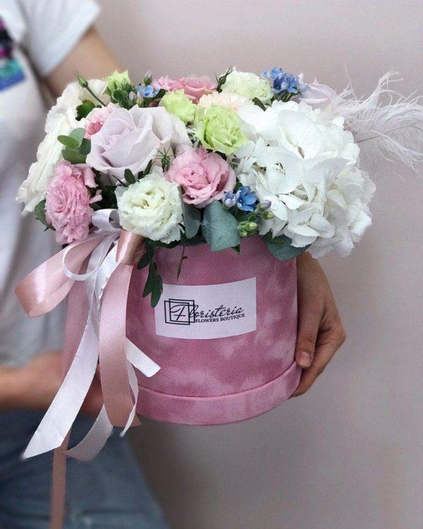 Box rozmiar L z eustomy , hortensji oraz róż