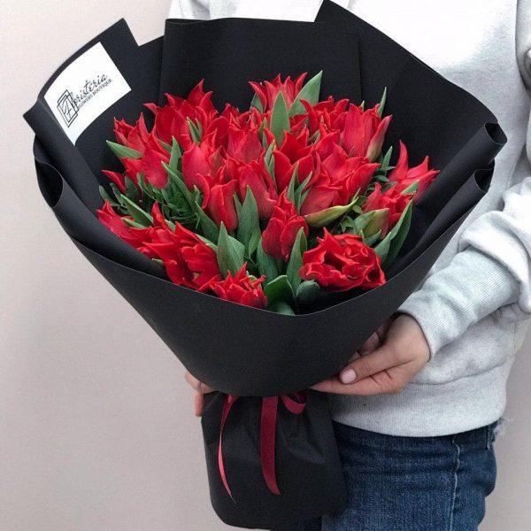 Bukiet z 25 liliowych tulipanów